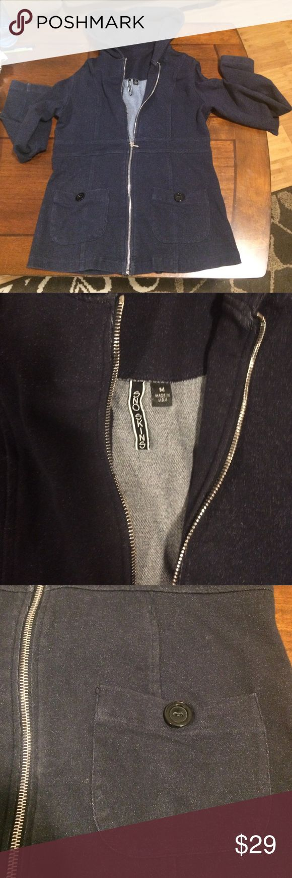 MED NWOT SnoSkins Navy Hoody. Silver zip up!!! Great fit and perfect condition. Lightweight and with the two center pockets and the way the back looks it's a very unique hoody!! Deep navy blue!! Sno Skins MEDIUM NWOT Sno Skins Tops Sweatshirts & Hoodies