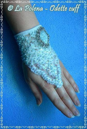 https://flic.kr/p/ExgXjX | Odette lace bracelet | Swan Lake inspired beaded sequined lace bracelet with vintage rhinestone brooch.