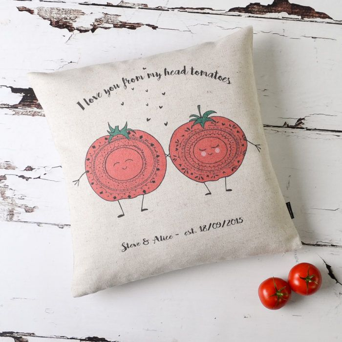 From My Head Tomatoes Personalised Couple Cushion Cover