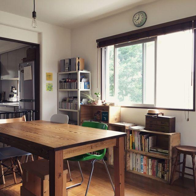 coccoさんの、Lounge,観葉植物,無印良品,照明,本棚,IKEA,アンティーク,DIY,レトロ,多肉植物,りんご箱,男前,古本屋についての部屋写真