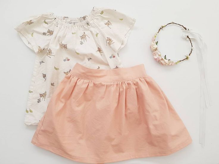 Sugar and spice and all things nice that's what little girls are made of. And every little girl needs a sweet outfit like this one. .  Our full sleeve top in Bambi and flat front skirt in peach