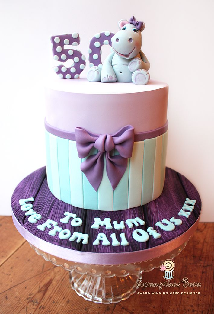 Tremendous 50Th Birthday Cake Purple Lilac And Turquoise Hippo Themed Personalised Birthday Cards Akebfashionlily Jamesorg