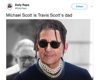 Travis Scott Dad? Michael Scott? - Kylie Jenner (Update)  The hilarious meme below claims that actor Michael Scott is Travis Scott's father. Michael is best known for his role as Steve Carell on The Office. While Michael and Travis have the same last name they are not related. Travis' real father Jack didn't want him to do music. Him and Travis got in fist fights and Jack would cut off the power in Travis' room so he couldn't work on music.  Travis Scott's father taught DJ Premier how to…