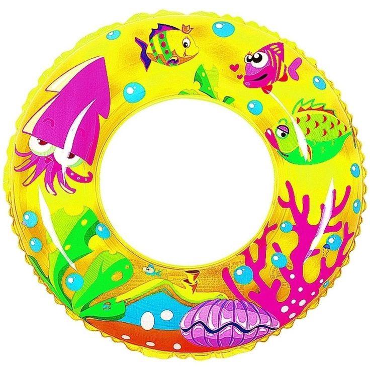 "Jilong 24"" Yellow Sea Fish Kids Inflatable Swimming Pool Inner Tube Ring Float 32041057"