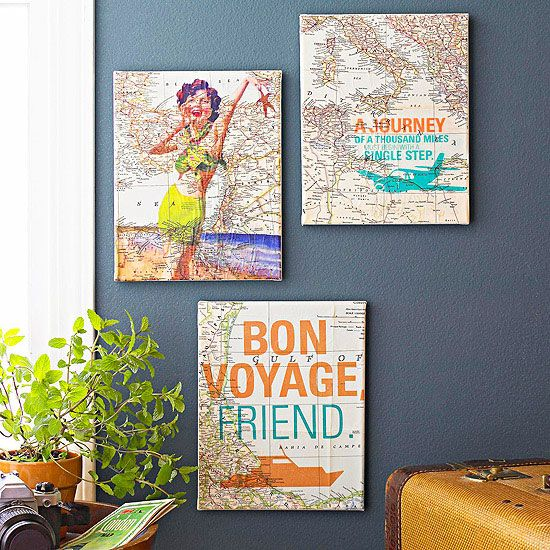 Display memories from a favorite vacation with this DIY travel art. Find out how it's made here: http://www.bhg.com/decorating/do-it-yourself/wall-art/wall-art-projects/?socsrc=bhgpin030513mapart=9
