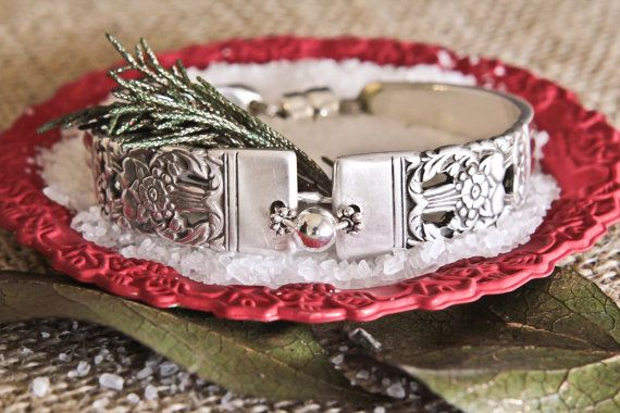 silver bracelet made from antique silverware $29
