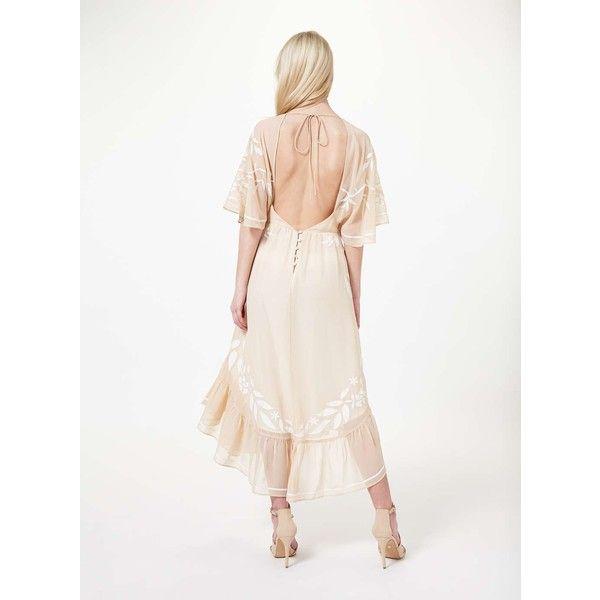 Miss Selfridge Nude Fluted Sleeve Dress ($137) ❤ liked on Polyvore featuring dresses, nude, floral summer dresses, bohemian dress, midi dress, white loose dress and white sleeve dress