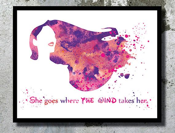Pocahontas Quote Watercolor Art Print Inspirational art Gift for her Nursery Girl room Pocahontas Illustration Disney Print Disney Painting