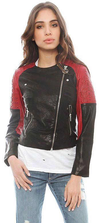 $600, Red and Black Leather Jacket: Eleven Paris Larke Bis Leather Jacket. Sold by Singer22. Click for more info: https://lookastic.com/women/shop_items/76456/redirect