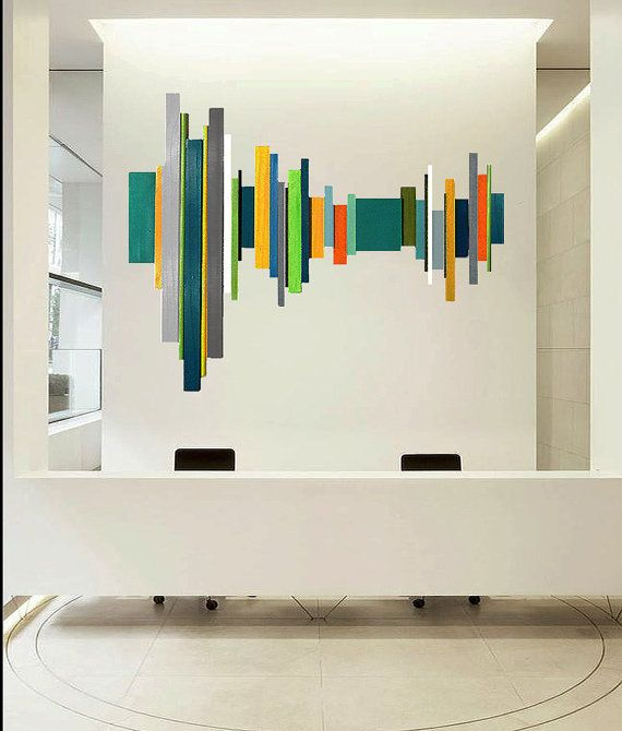 A very large modern geometric abstract painted wood wall sculpture - hospitality, corporate art - by Rosemary Pierce - www.rosemarypiercemodernart.com