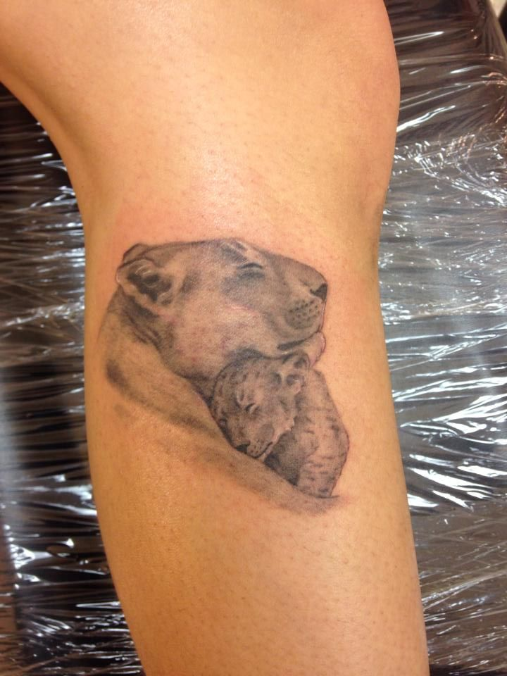 Lioness & Her Cub (Love my tattoos)