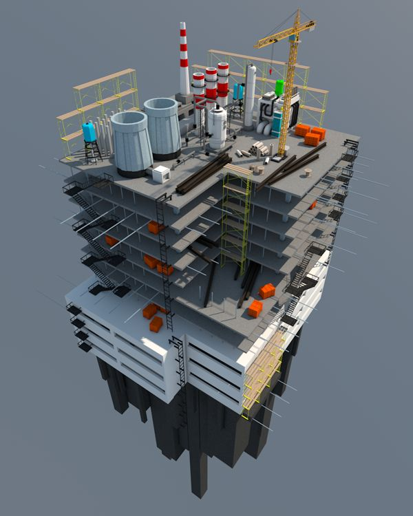 Low Poly Industrial Installation by Vitaly Cherkasov #illustrazione #disegno #tecnico #3d