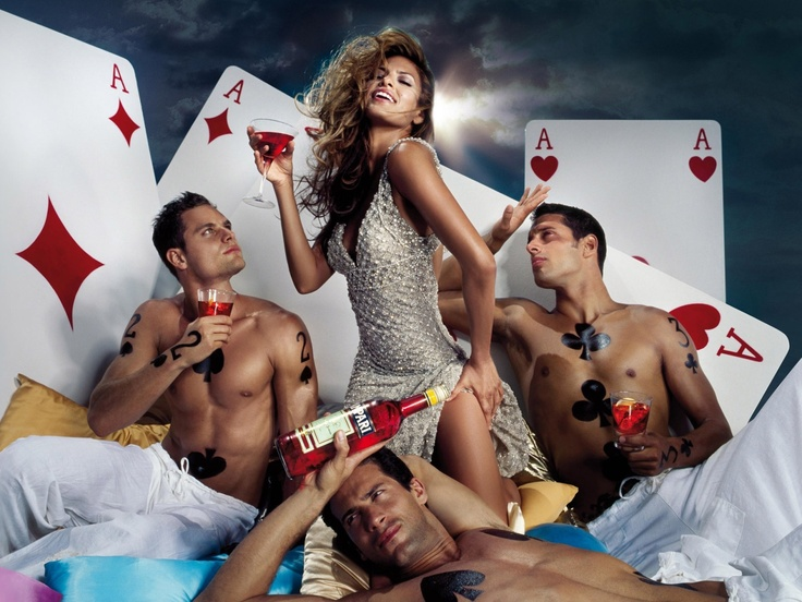 Campari Advertising: Eva Mendes with Sexy Men and Cards.