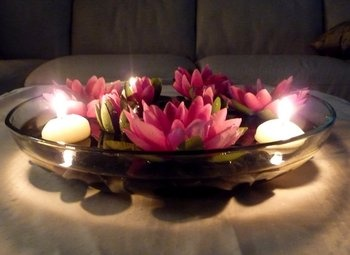 I LOVE the pink water lilies and floating candles in a bowl of water as a wedding reception cenerpiece!  Easy and cheap diy decoration for the tables