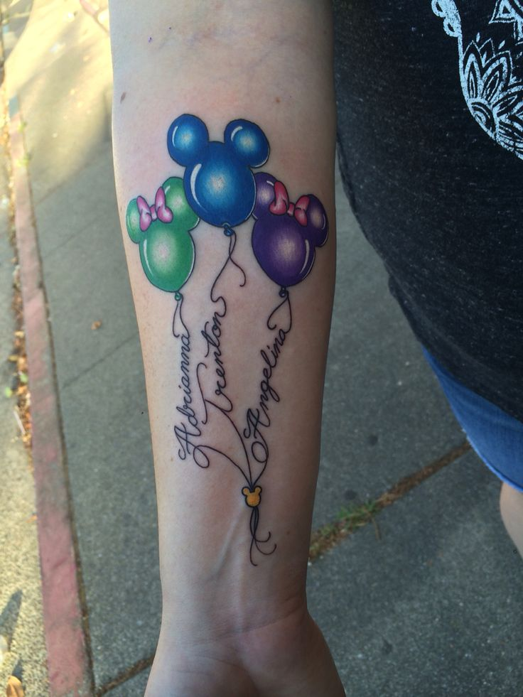 Kids name on Disney balloons done by Matt Robinson in Vacaville CA at Anchor Tattoo