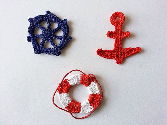 Nautical crochet applique embellish motif navy blue red by TomToy