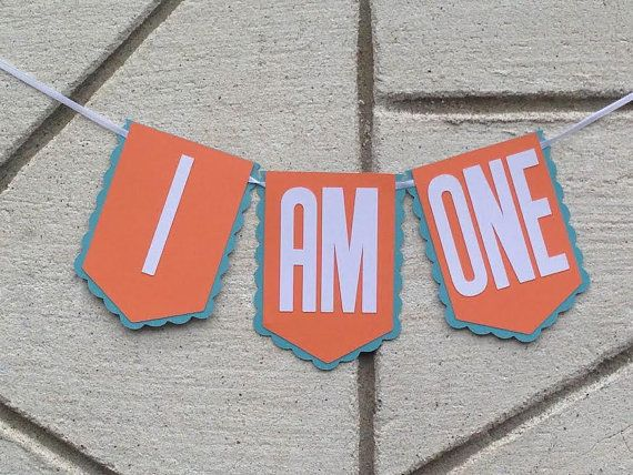 Turquoise and Orange I AM ONE First Birthday Party Banner ~ High Chair Banner ~ Photo Prop, First Birthday Decorations, 1st Birthday Party
