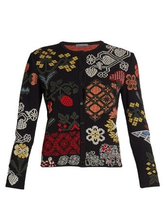 Cross-stitch jacquard cardigan