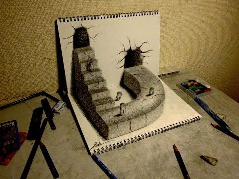 3D Drawing - How to draw 3D ART (World drawn by pencil ) - 3Dアートの制作風景