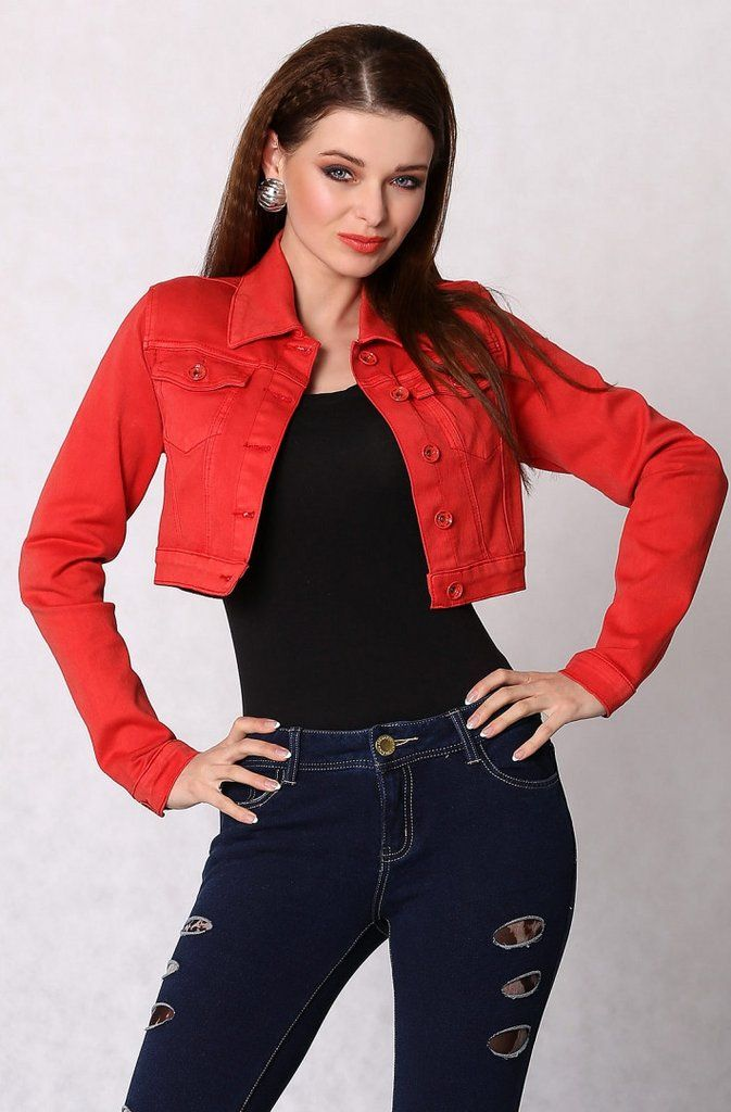 Jeans jacket buttoned, short - red