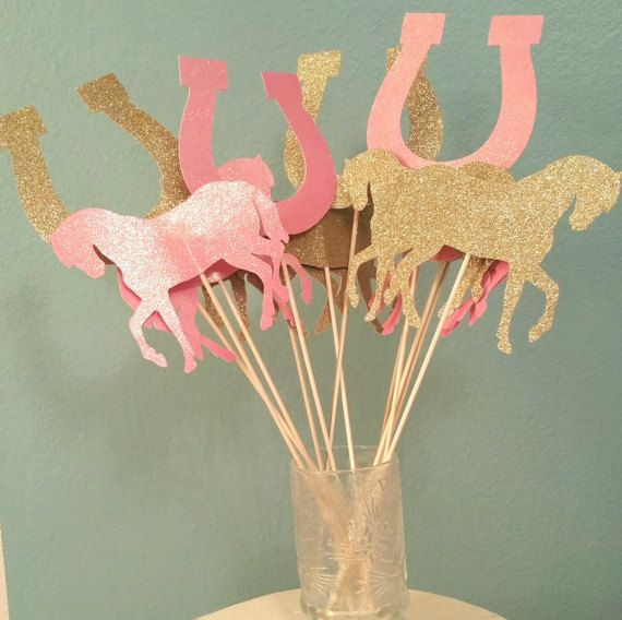 Choose colors! Sets of Pony or Horse toppers for centerpieces ground decorations cakes baby shower birthday party favor table decor Wild West Western cowboy cowgirl barnyard rodeo themes
