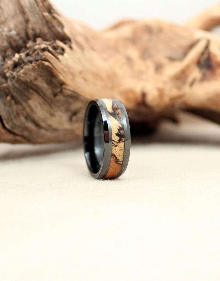 Black Ceramic Ring with Spalted Tamarind