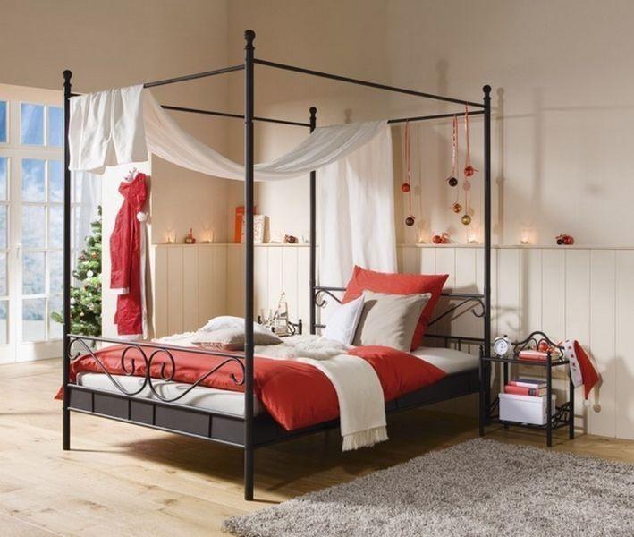 Kovová postel s nebesy Manege, černá 140x200 - Moderní nábytek | MilujemeBydleni.cz