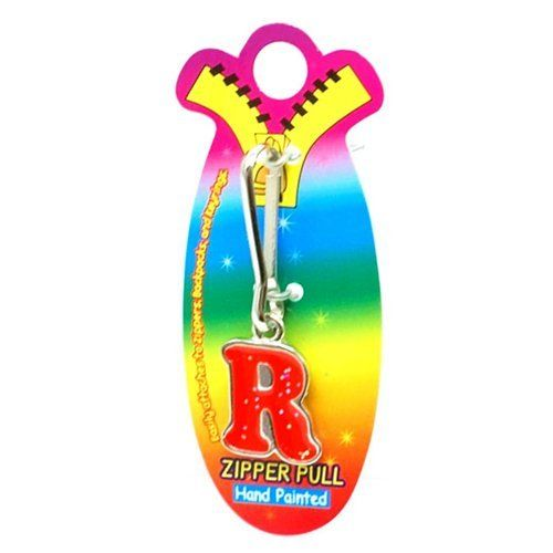 OOTB Initial R Red Hand Painted Base Metal 4.5 cm Glitter Zipper Puller