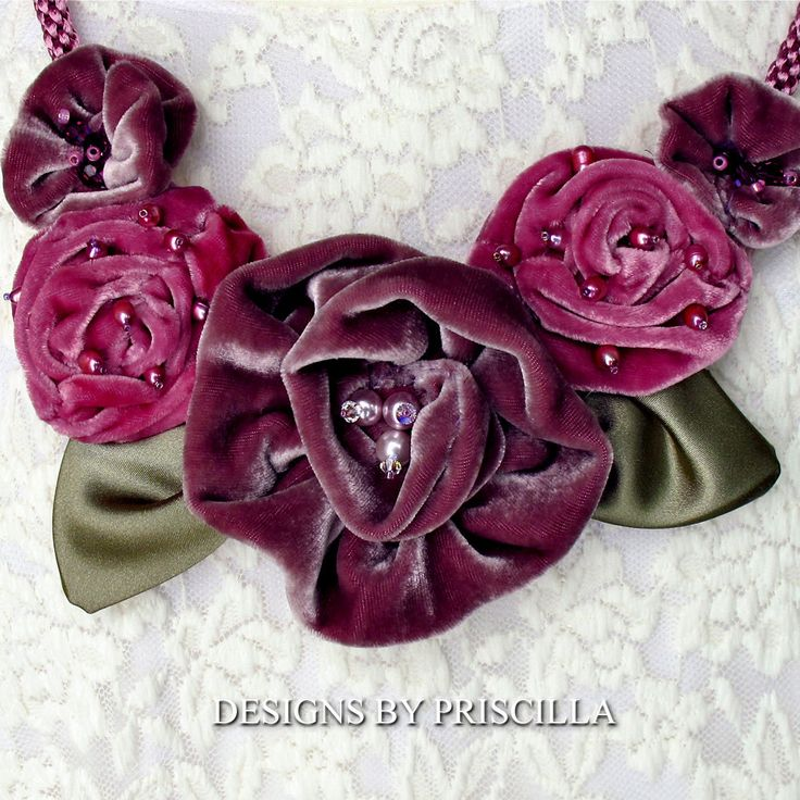 Velvet flower bib necklace flower jewelry velvet flowers pink jewelry lavender…