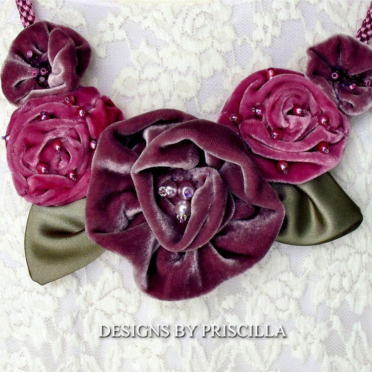 Lavender Pink Roses Velvet Flower Necklace by designsbypriscilla