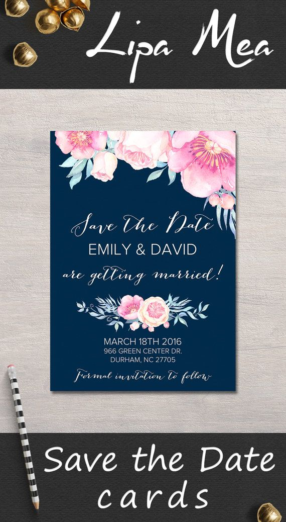 Printable Save the date Card, Floral Save the Date, Peonies Save the Date, Boho Save The Date Card Printable, Navy & Pink Save the date. Matching wedding invitation and signs at: lipamea.etsy.com