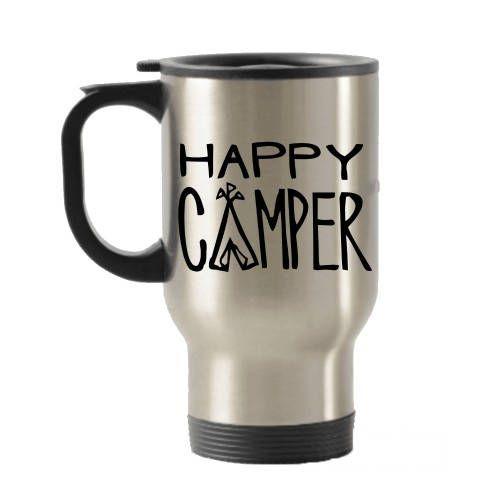 Happy Camper Stainless Steel Coffee Travel Mug, Unique Travel Mugs, Custom Travel Mug, Camper Mug, Travel Insulated Coffee Mug,14 oz