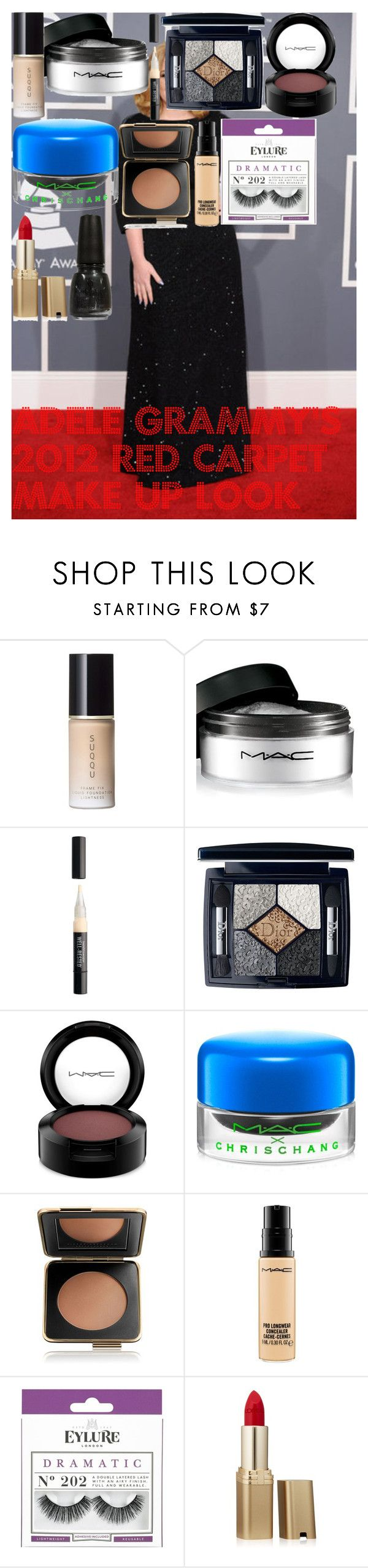"""""""Adele Grammy's 2012 Red Carpet make up look"""" by oroartye-1 on Polyvore featuring beauty, SUQQU, MAC Cosmetics, Bare Escentuals, Christian Dior, Estée Lauder, eylure, L'Oréal Paris and China Glaze"""