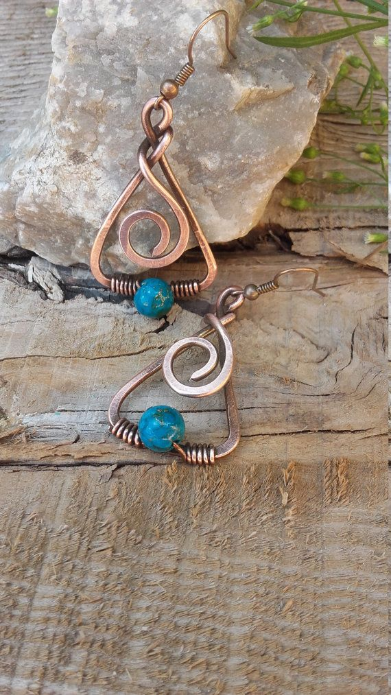 Copper wire earrings with Turquoise beads,Wire earrings,Copper earrings,Wire…