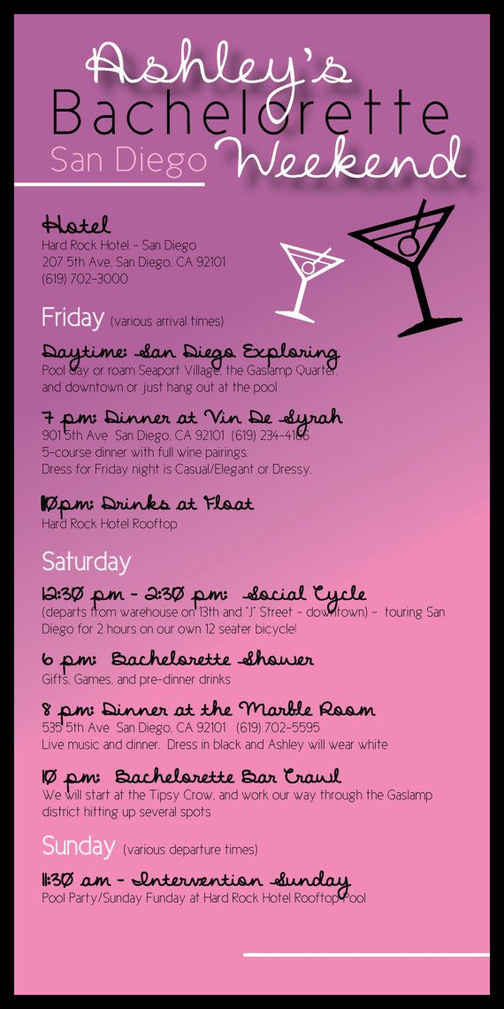 Bachelorette party itinerary by madewithloveinvites on for Bridal shower itinerary template