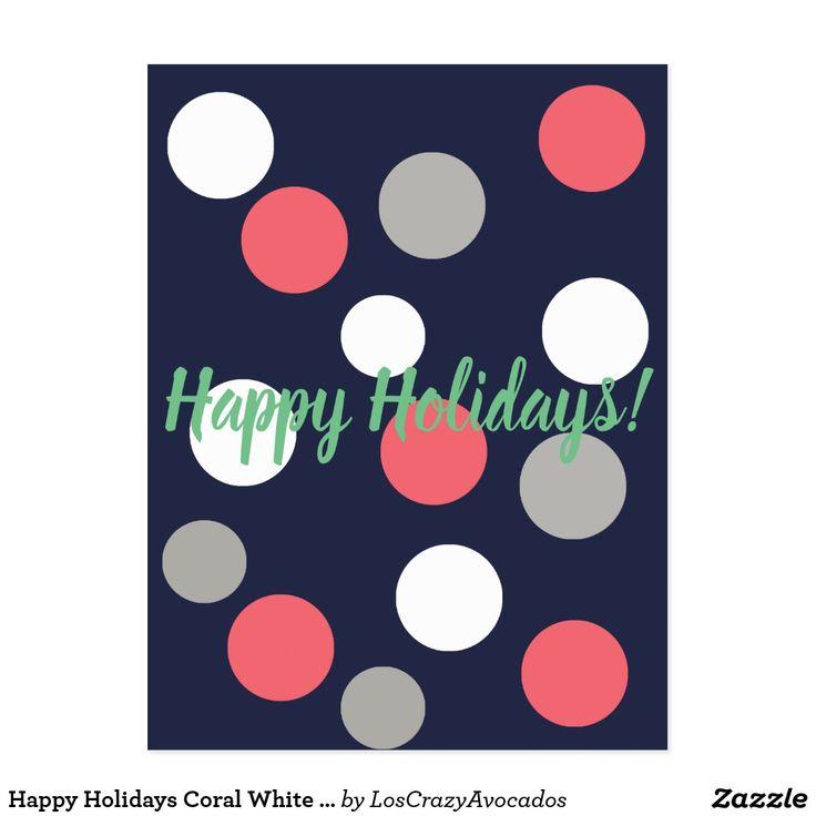 Happy Holidays Coral White Grey Balls Postcard
