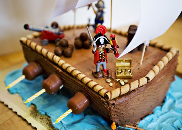 Pirate cake.  Love the candle placement!