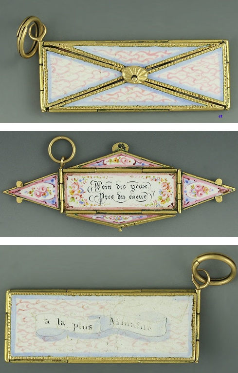 VICTORIAN 18K GOLD ENAMEL OPENABLE ENVELOPE ABSENT LOVERS' CHARM