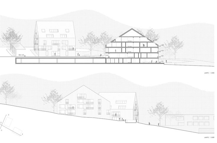 OPERASTUDIO - Competition - Home for elderly and social housing #Switzerland #Section #elevation
