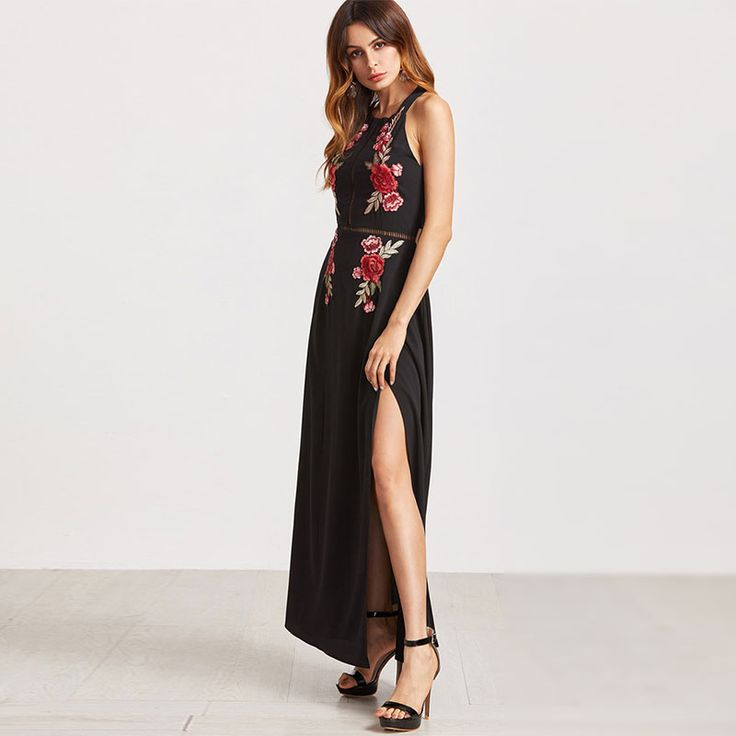 FREE SHIPPING Party Dresses Black Rose Embroidered JKP334