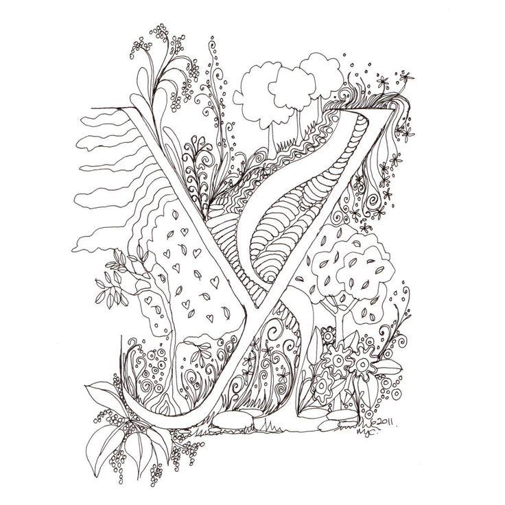 Monogram, Initial, Colour-Me-In Illuminated Letters - Y, original art  drawings by melanie j cook. $5.00, via Etsy.