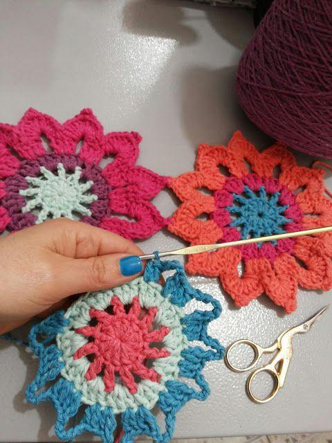 Canto do Pano Artesanato: Cortina flores em crochê