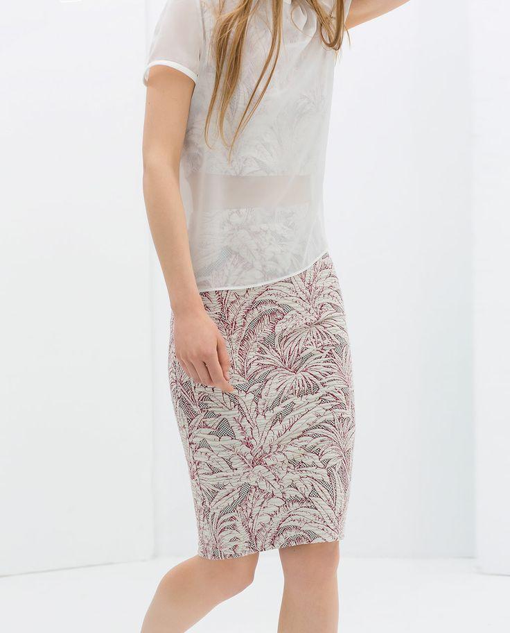 Image 3 of JACQUARD PENCIL SKIRT from Zara