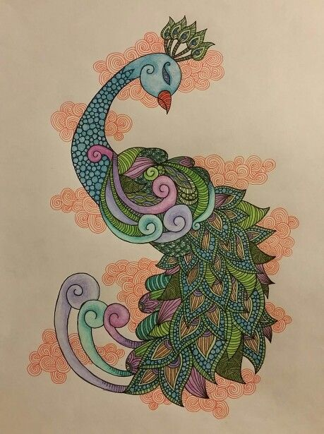 Hand drawn patterned peacock Pen and pencil crayon  2016  LoveandtHeart www.facebook.com/loveandtheart Prints available at www.artpal.com/loveandtheart