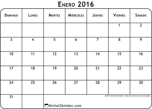 calendario enero 2016 para imprimir gratis Sencillo domingo