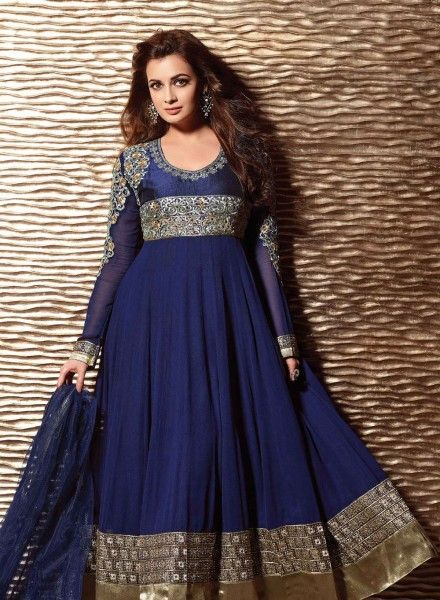 Buy Bollywood Designer Anarkali Salwar Kameej In Navy Blue $91.26 . Shop at - bollywood-ankle-length-anarkali.blogspot.co.uk/2014/07/buy-bollywood-designer-anarkali-salwar.html