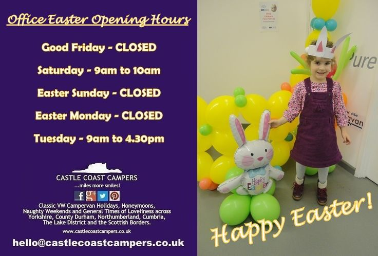 Happy Easter!  Enjoy your days off - those of you who have them!  Castle Coast Campers | Classic VW Campervan Hire - fab vintage VW Campervan Hire #Holidays, #Honeymoons, Naughty #Weekends and General Times of Loveliness across #Yorkshire, County #Durham, #Northumberland, #Cumbria, The Lake District and the Scottish Borders.