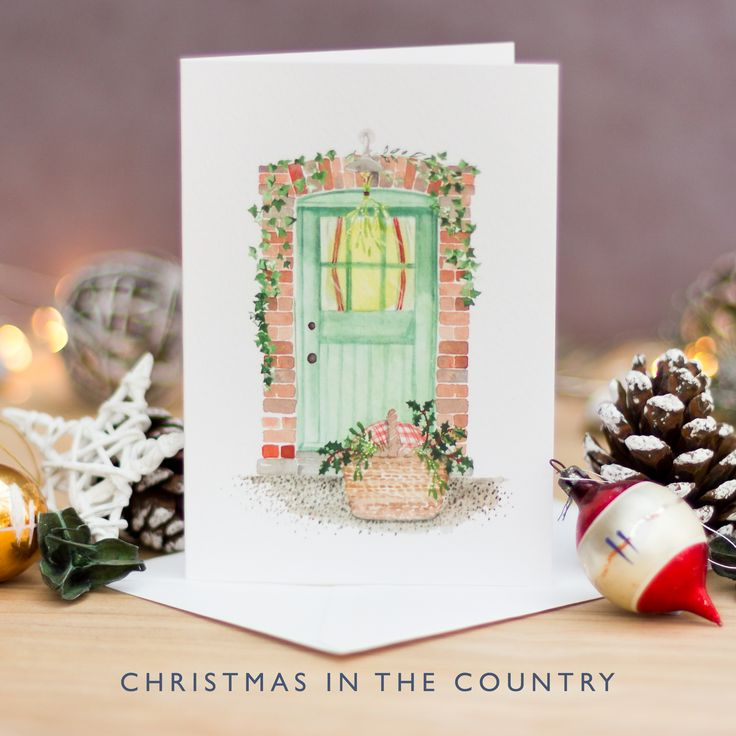 Hand Painted Christmas Card | Watercolour Christmas Card | Costwold Green | Country Christmas | Rural Christmas | Holly and Ivy | Not on the High Street