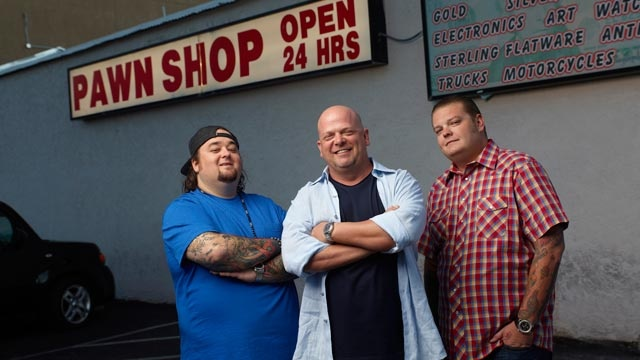Pawn Stars Chumlee, Rick Harrison and Corey Harrison.