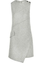 Asymmetric wool-blend mini dress